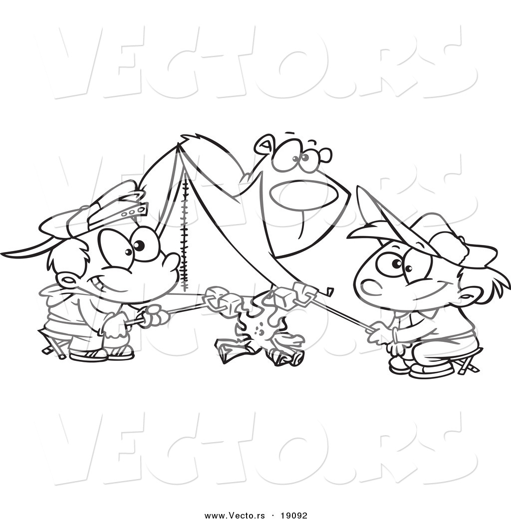 vector of a cartoon bear watching camping boys roast marshmallows outlined coloring page