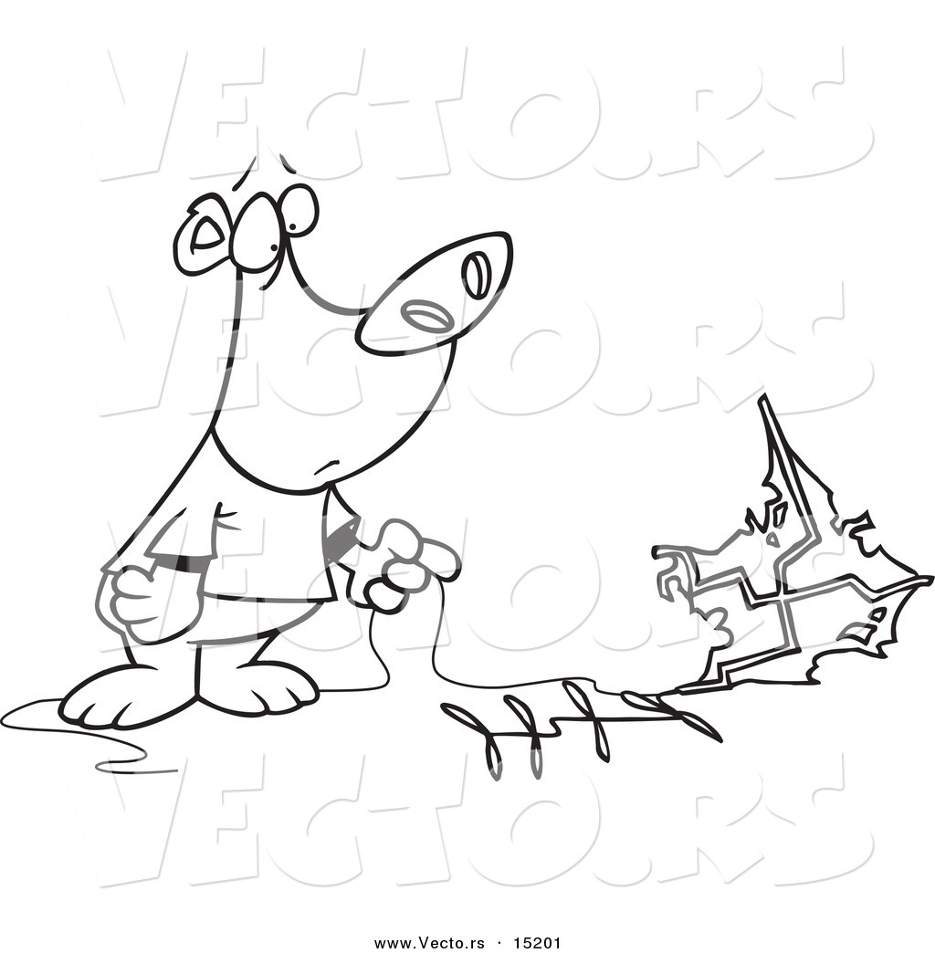 Free coloring pages kite - Vector Of A Cartoon Bear With A Crashed Kite Coloring Page Outline