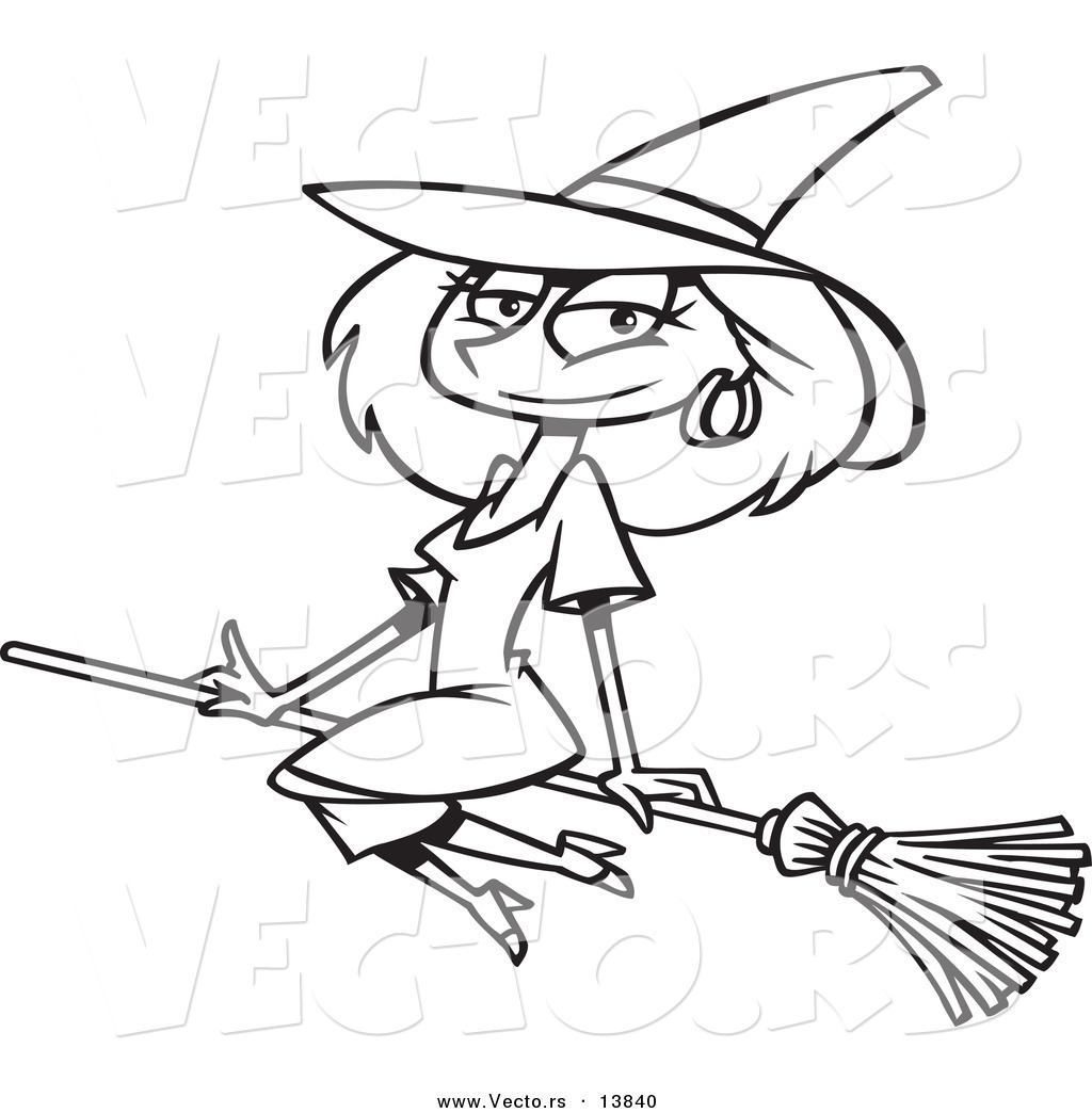 witches on broomsticks coloring pages - photo#15