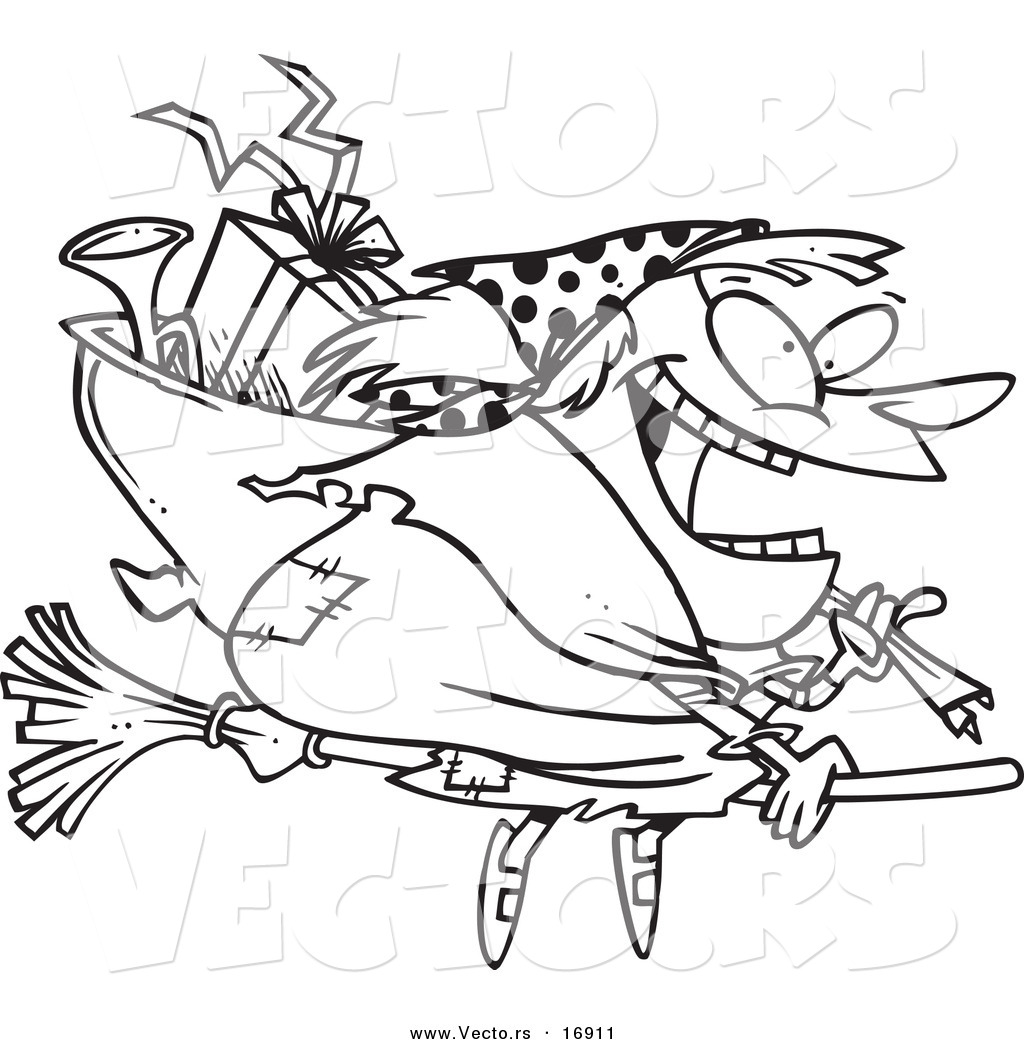 vector of a cartoon befana witch flying with gifts coloring page