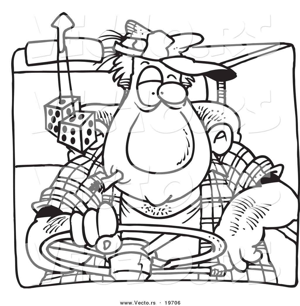 Vector Of A Cartoon Big Man Driving Outlined Coloring Page