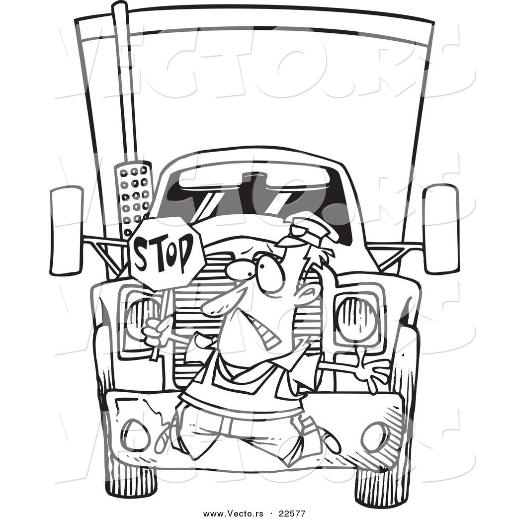 vector of a cartoon big rig hitting a crossing guard coloring
