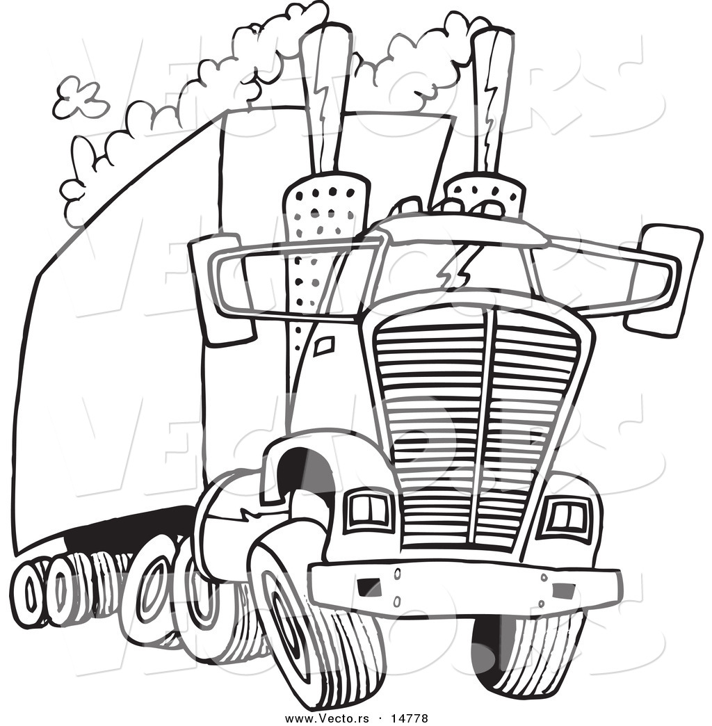 Coloring pictures of cars truck tractors - Vector Of A Cartoon Big Rig Releasing A Lot Of Exhaust Coloring Page Outline