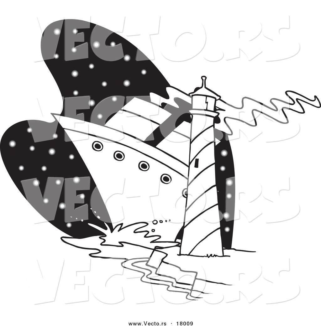 vector of a cartoon big ship near a light house outlined