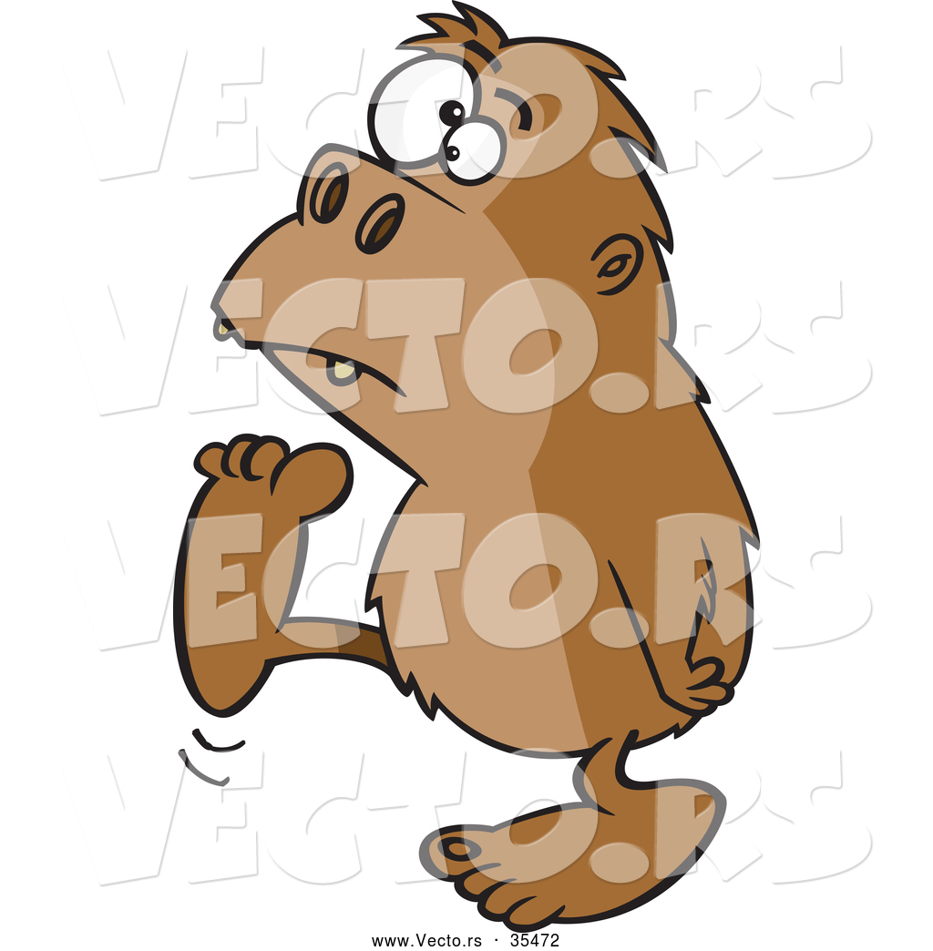 Vector of a Cartoon Bigfoot Walking Around by Ron Leishman - #35472