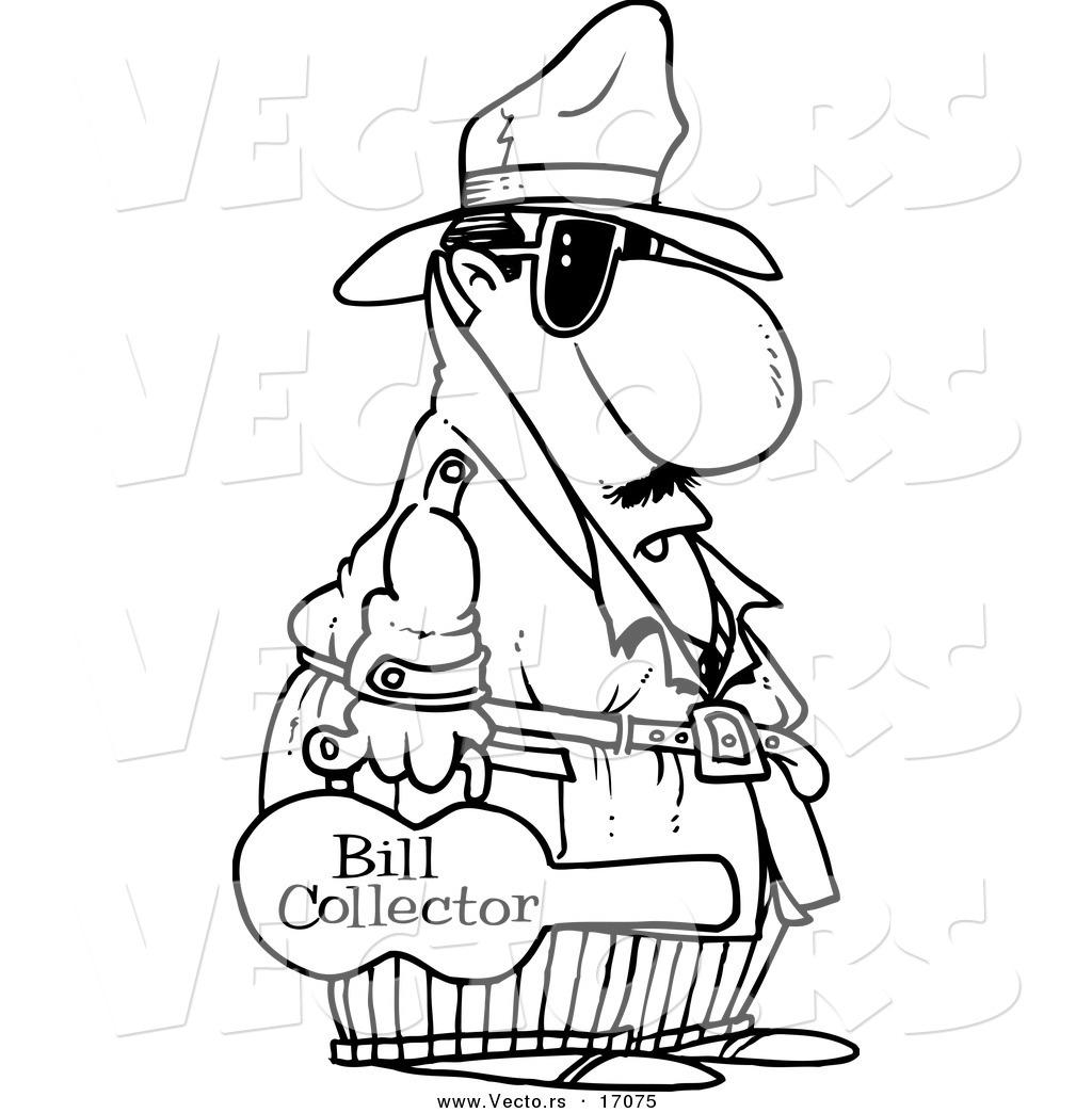 Vector Of A Cartoon Bill Collector Carrying Violin Case