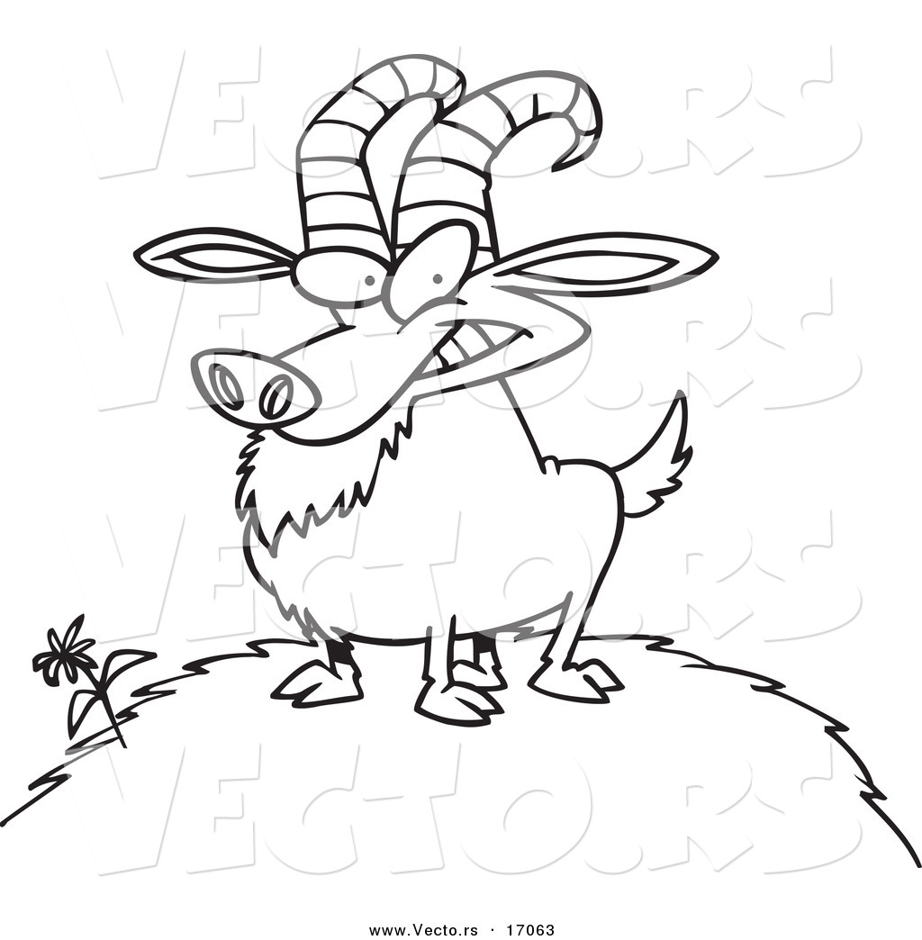 vector of a cartoon billy goat on a hill coloring page outline