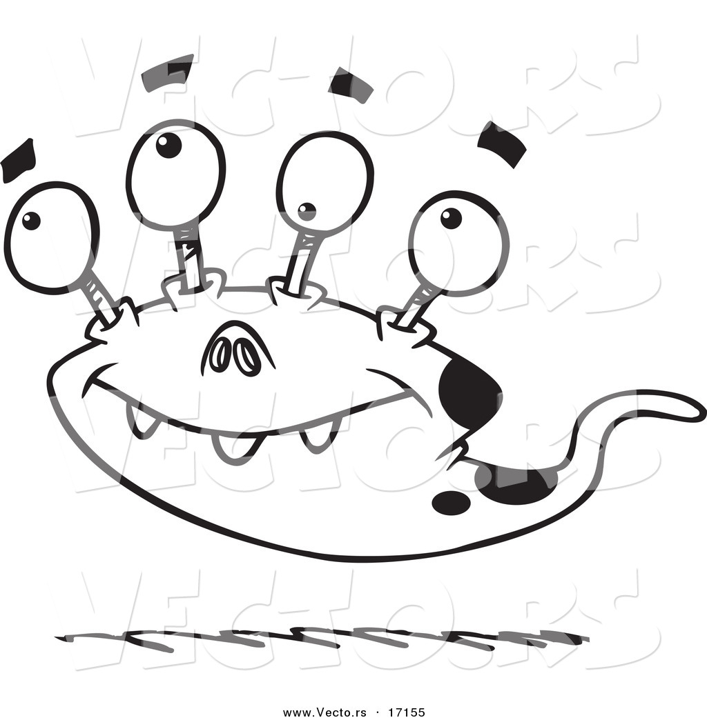 Coloring pages vector - Vector Of A Cartoon Bizarre Monster Coloring Page Outline