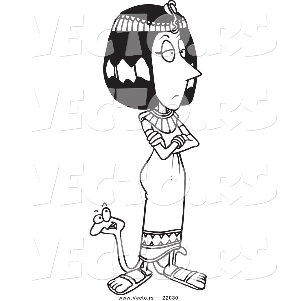 vector of a cartoon black and white outline design of cleopatra