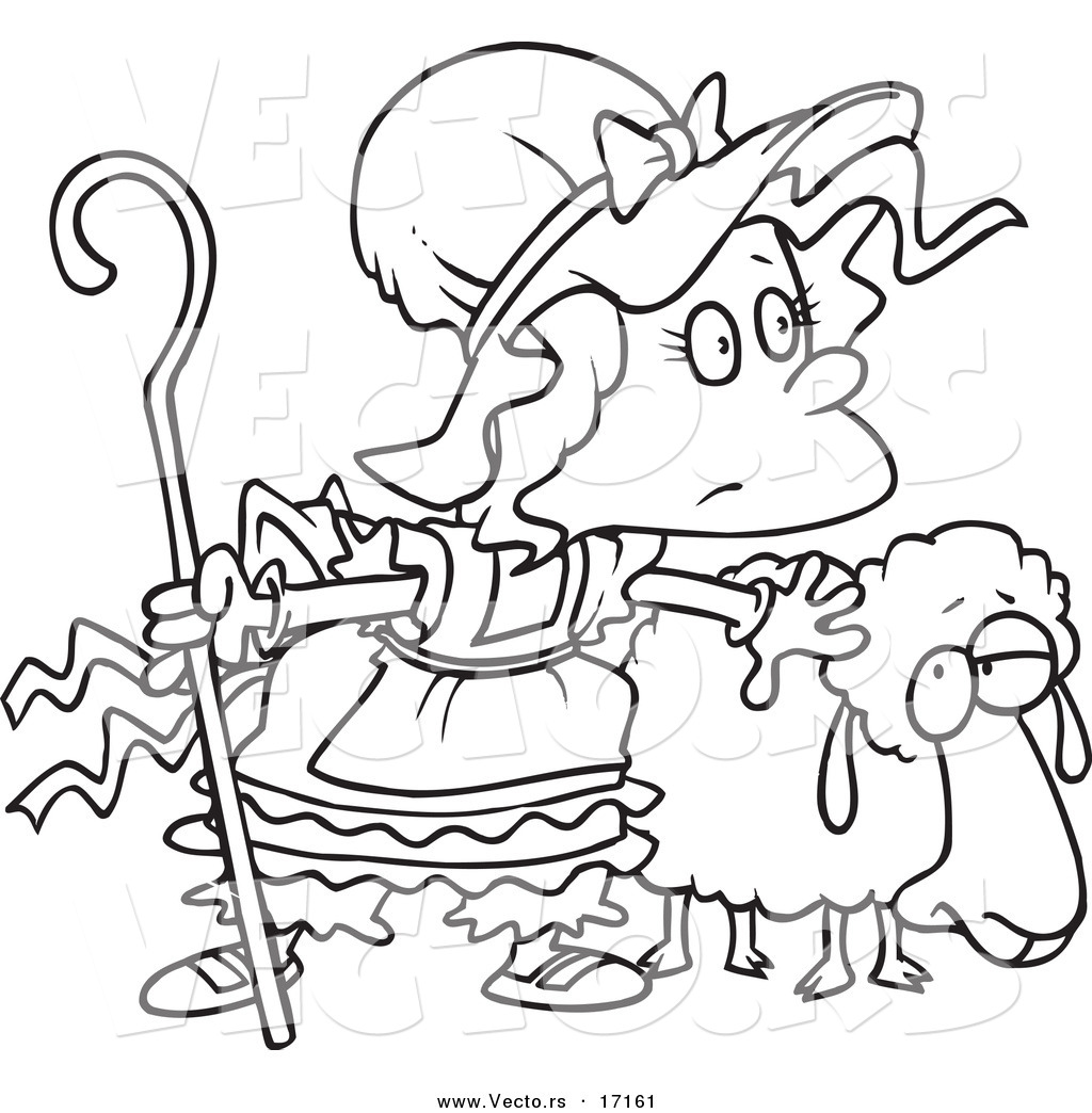 Vector of a Cartoon Black and White Outline Design of Little Bo Peep ...