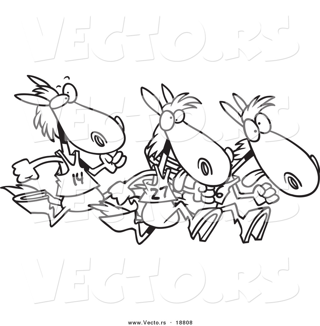 Vector Of A Cartoon Black And White Outline Design Racing Horses