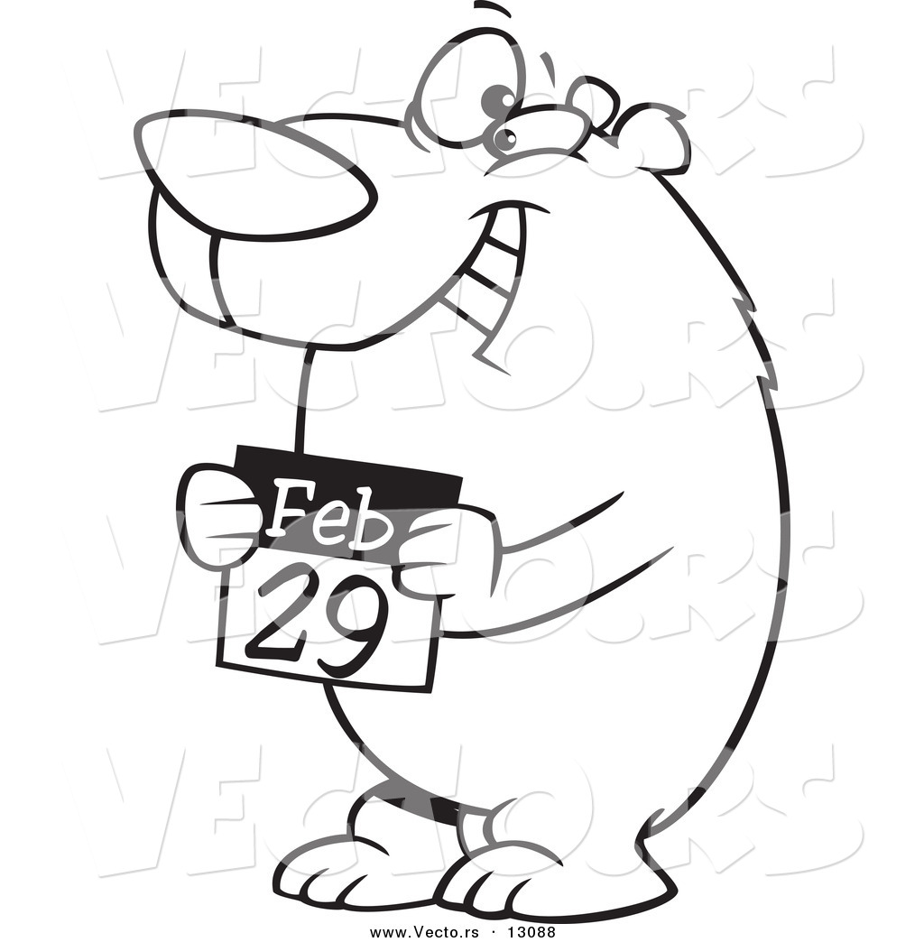 vector of a cartoon black and white outline leap day bear holding