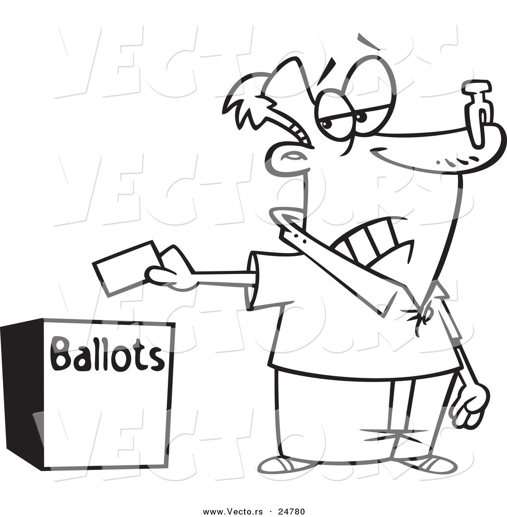 vector of a cartoon black and white outline voter with a