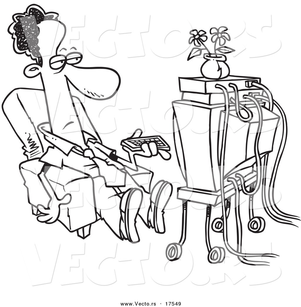 watching tv clipart black and white. vector of a cartoon black businessman watching tv - coloring page outline tv clipart and white
