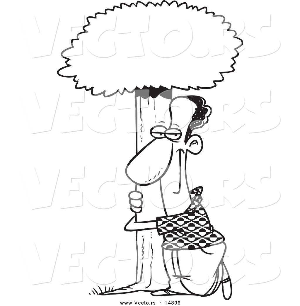 vector of a cartoon black man hugging a tree coloring page