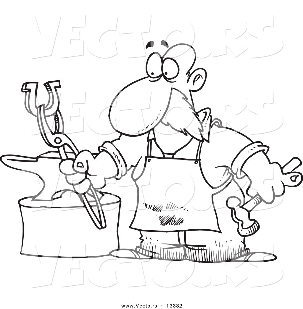 Vector Of A Cartoon Blacksmith Working On Horseshoe Coloring