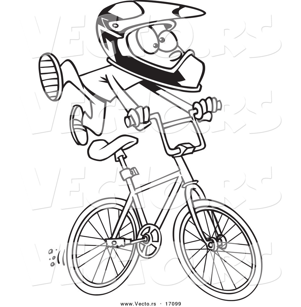 Uncategorized Bmx Coloring Pages vector of a cartoon bmx boy coloring page outline by toonaday outline
