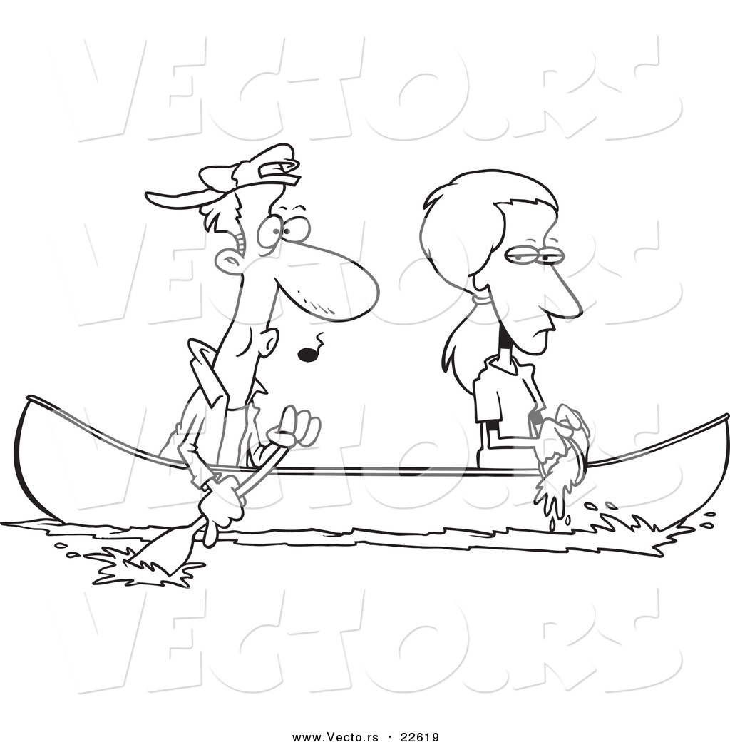 Coloring pages for boyfriend - Vector Of A Cartoon Boat As Her Boyfriend Rows Coloring Page Outline