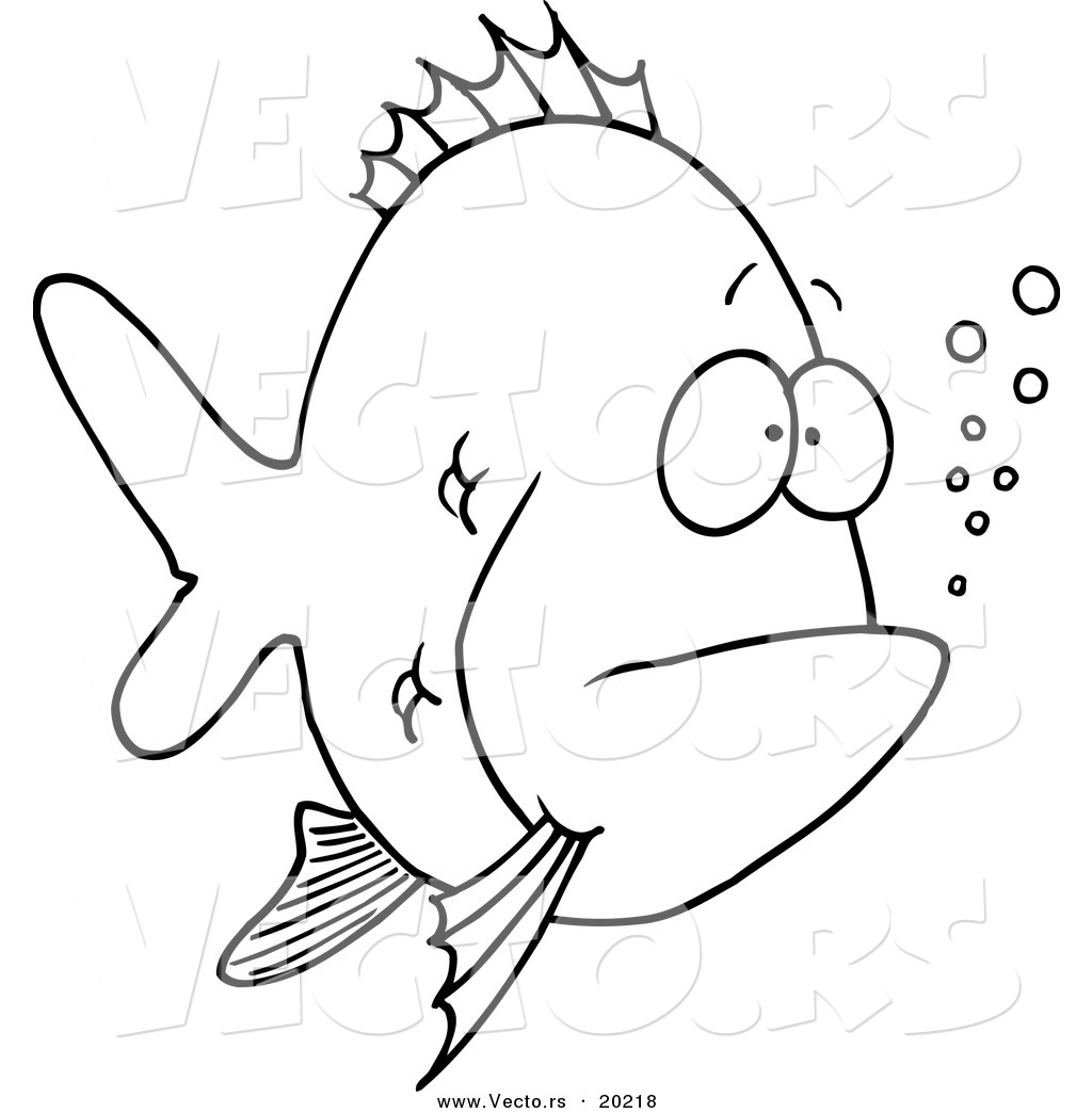 vector of a cartoon bored fish outlined coloring page by