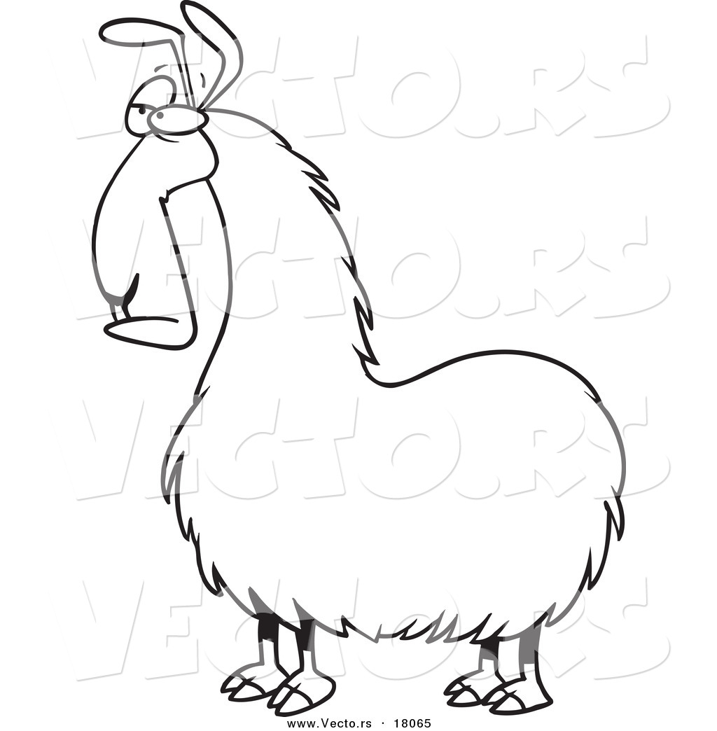 vector of a cartoon bored llama outlined coloring page