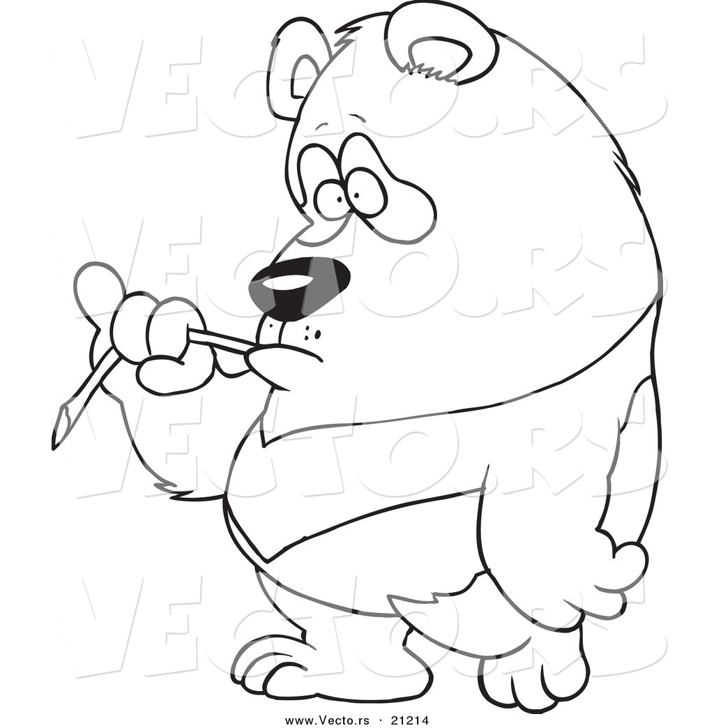 vector of a cartoon bored panda eating bamboo coloring page