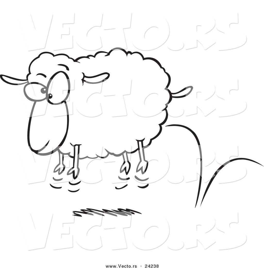 coloring pictures sheep : Vector Of A Cartoon Bouncing Sheep Coloring Page Outline