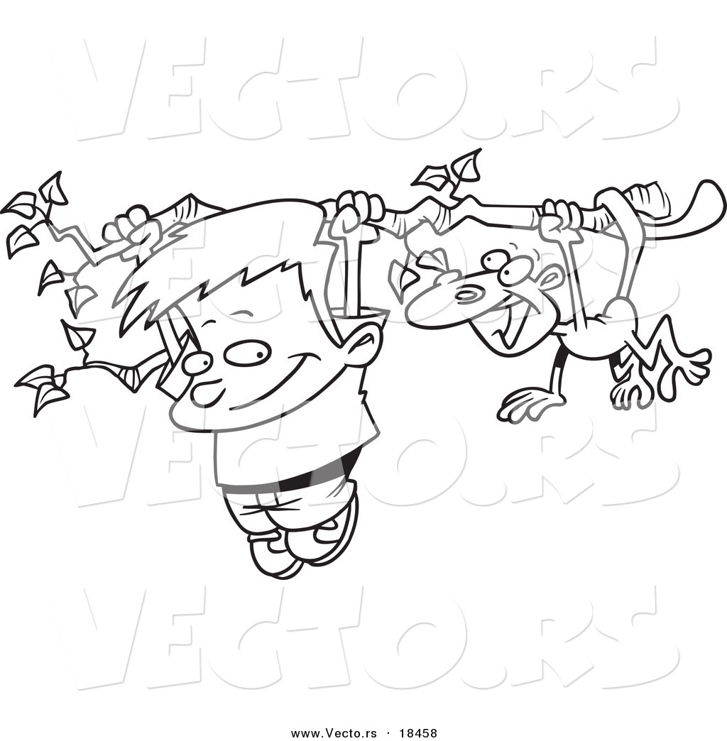 vector of a cartoon boy and a monkey hanging from a tree branch