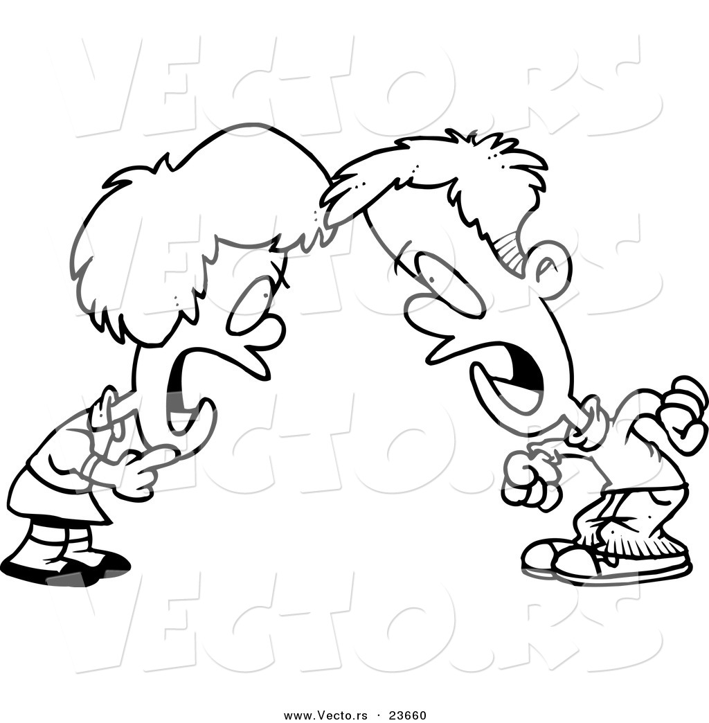 vector of a cartoon boy and girl having a yelling match coloring page outline - Coloring Pages Girls Boys