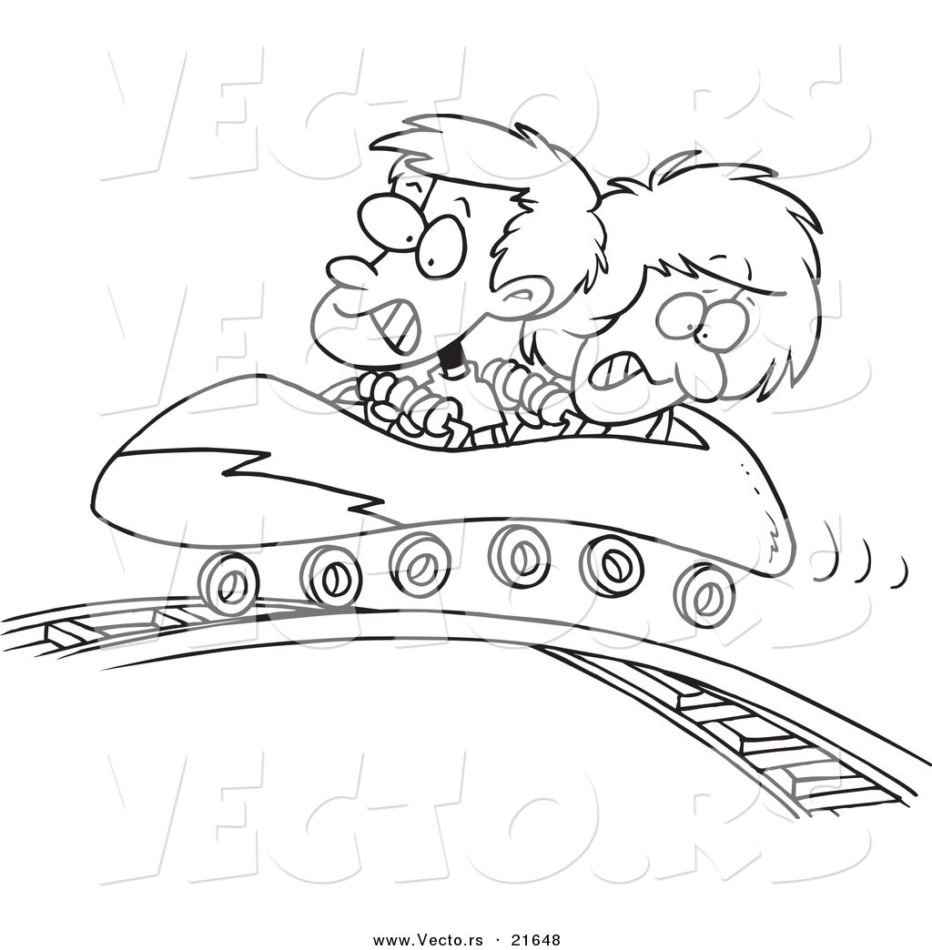 Vector Of A Cartoon Boy And Girl On Roller Coaster