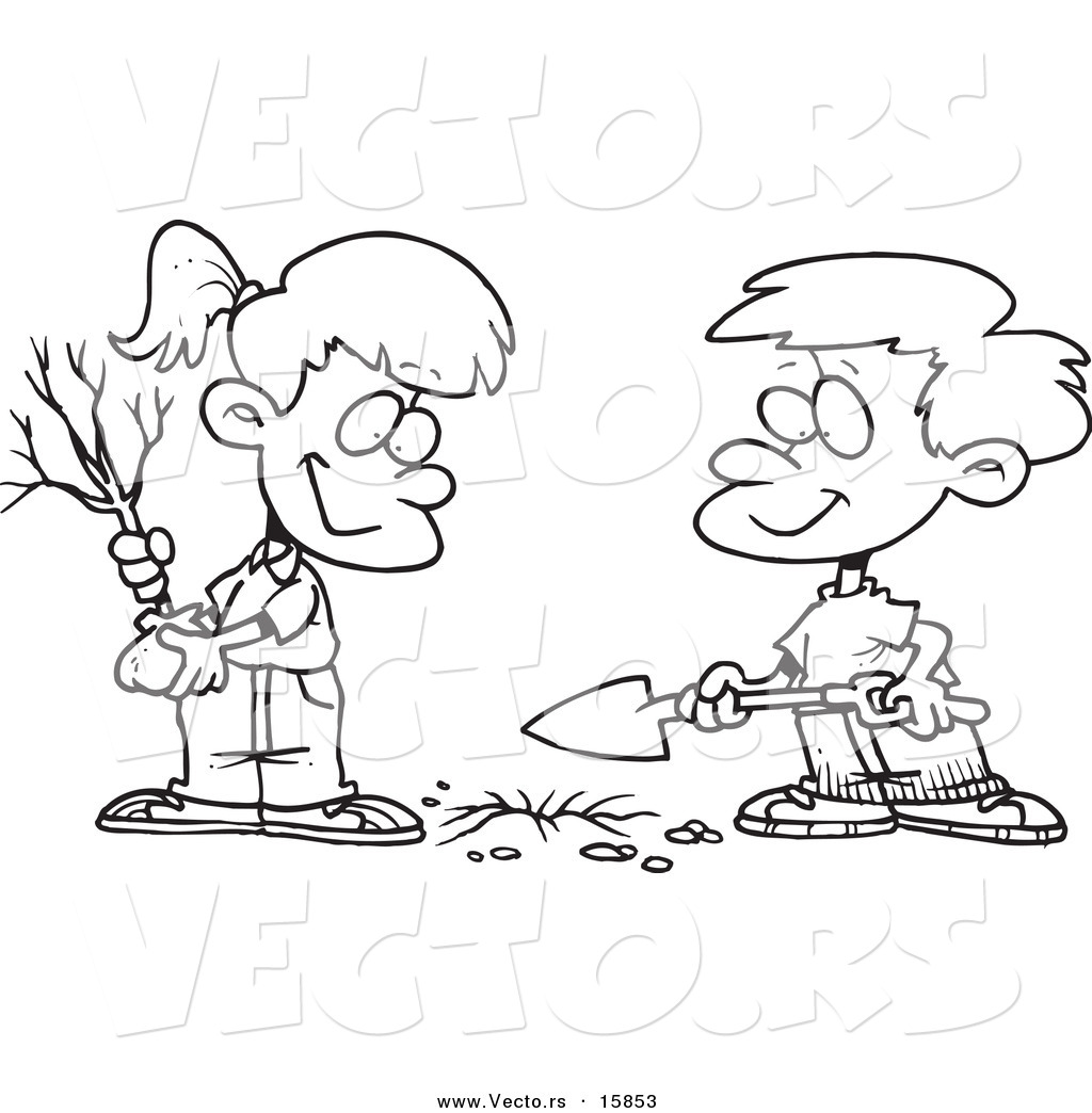 Vector Of A Cartoon Boy And Girl Planting An Arbor Day Tree