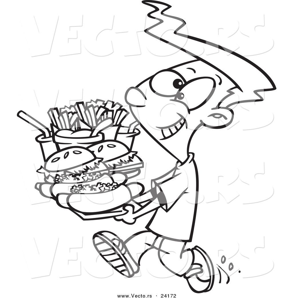 Vector Of A Cartoon Boy Carrying Heavy Fast Food Tray