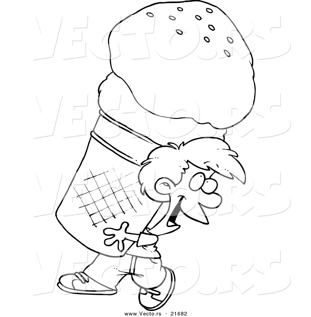 vector of a cartoon boy carrying a huge ice cream cone outlined