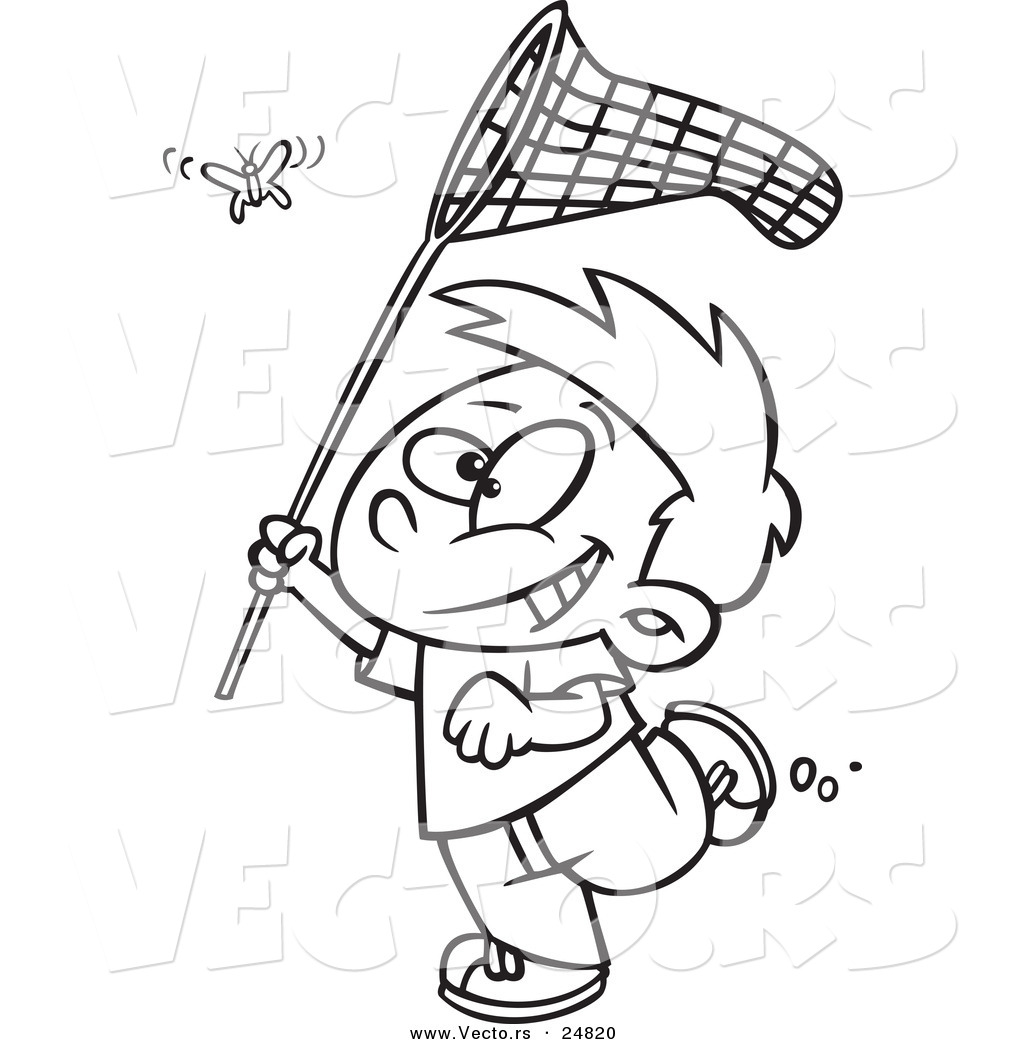Uncategorized Coloring Pages.net vector of a cartoon boy chasing butterlfy with net outlined coloring page