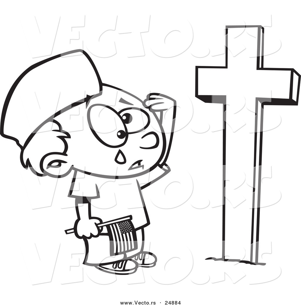 vector of a cartoon boy crying at a soldiers grave on memorial day outlined coloring