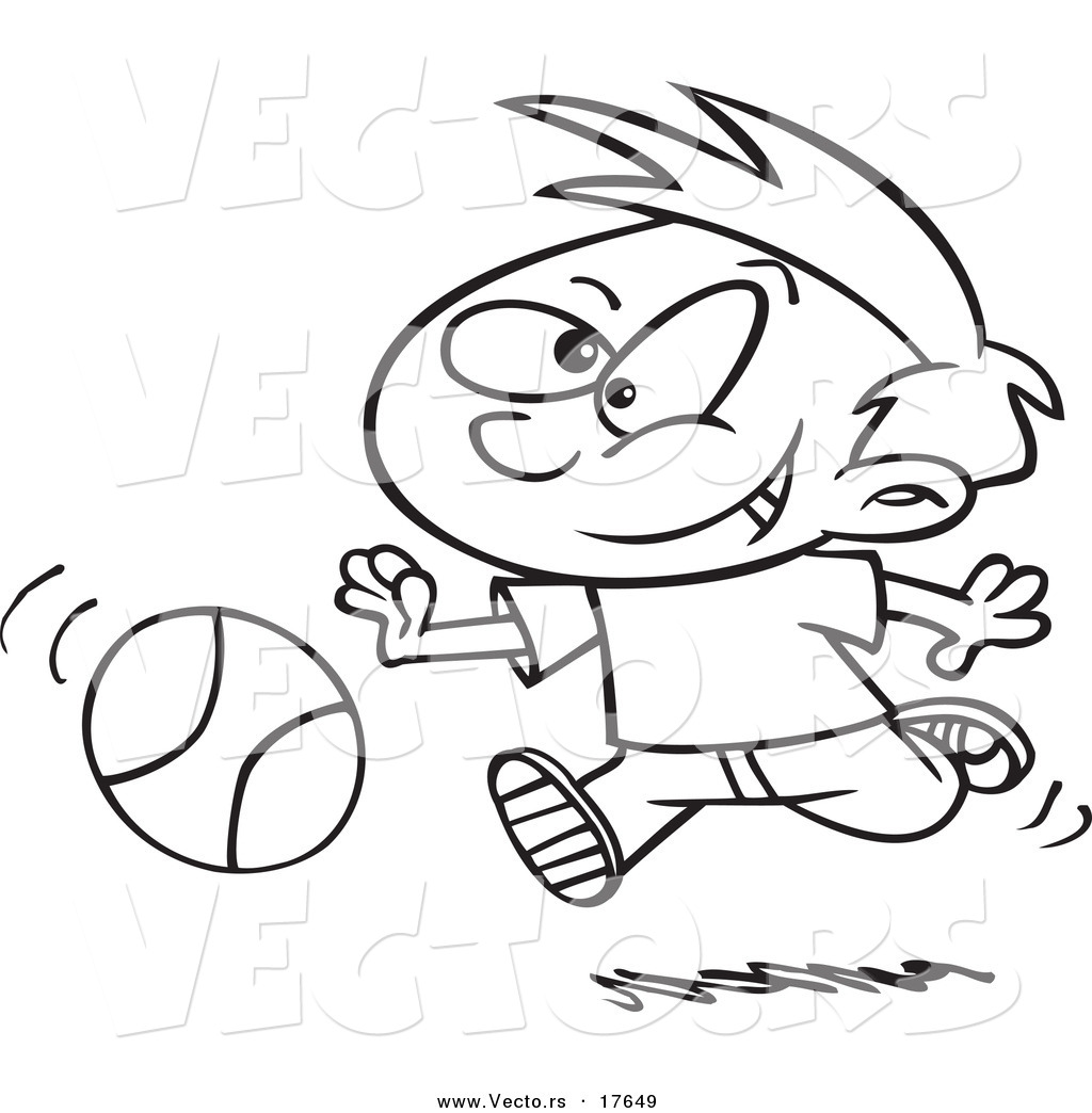 Vector of a Cartoon Boy Dribbling a Basketball - Coloring Page ...