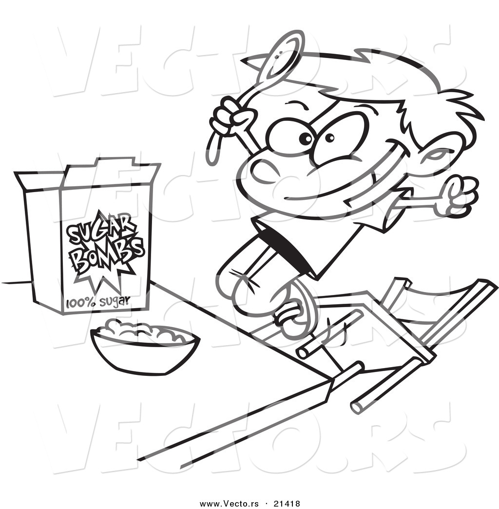 vector of a cartoon boy eating sugary cereal outlined coloring