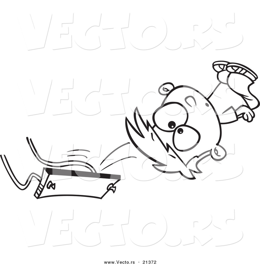 Vector Of A Cartoon Boy Falling Off Swing