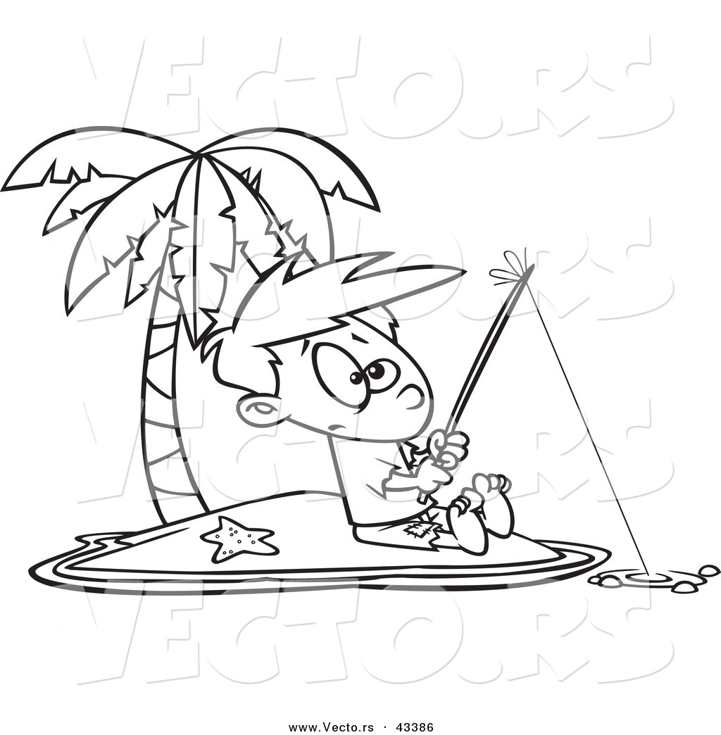 Vector of a Cartoon Boy Fishing by Himself on an Island - Coloring ...
