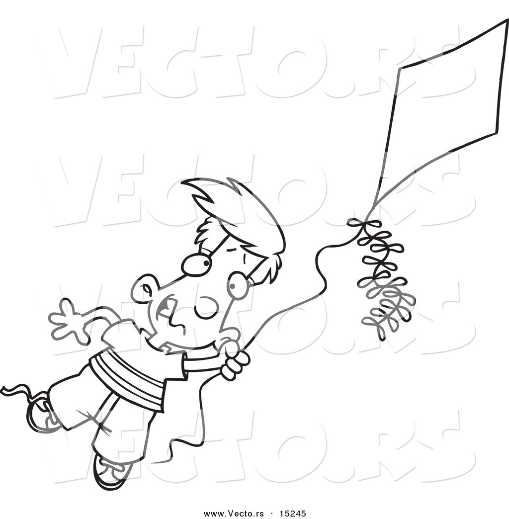 Vector of a Cartoon Boy Flying a Kite - 1 - Coloring Page Outline by ...