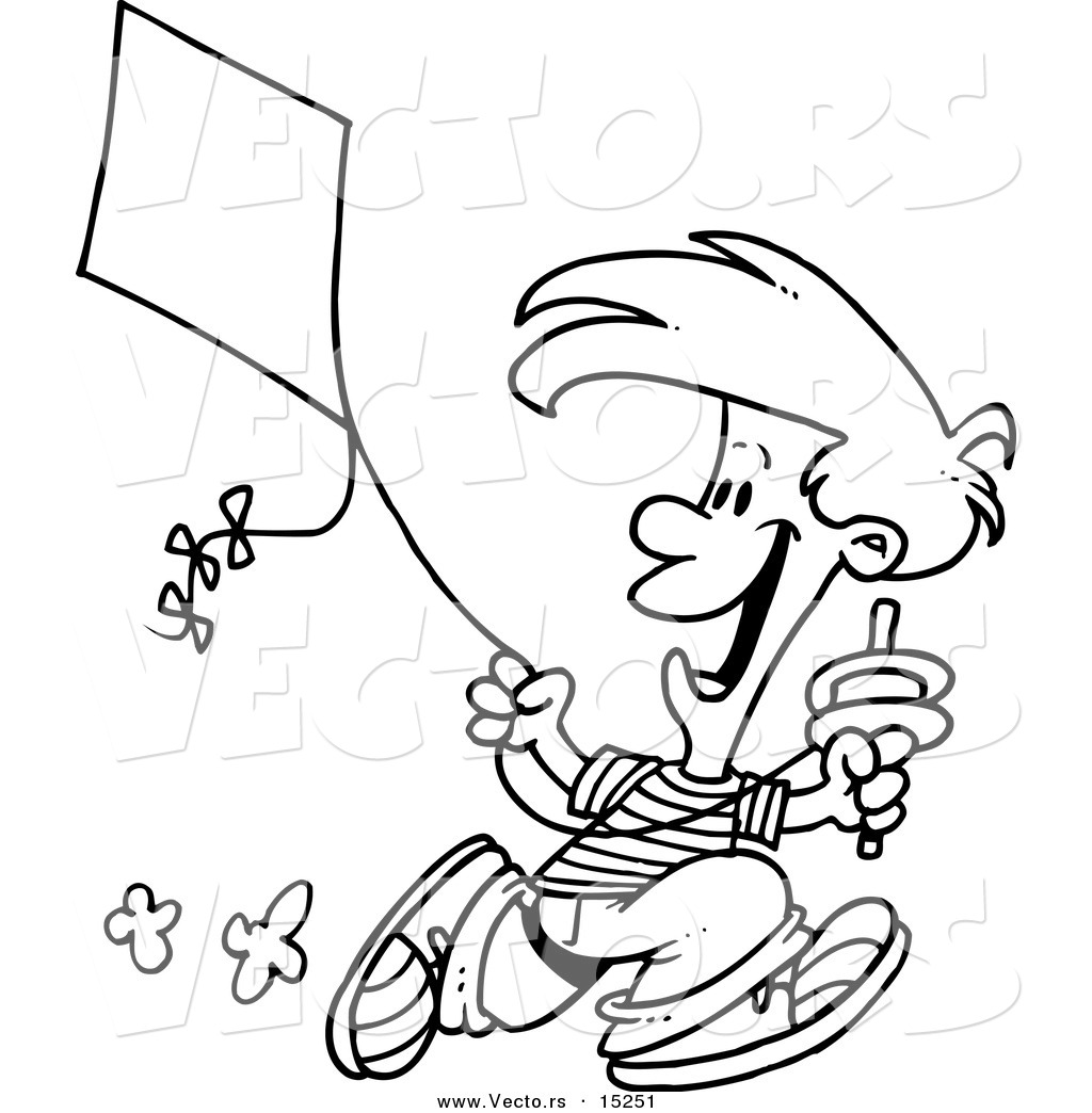 Vector Of A Cartoon Boy Flying Kite
