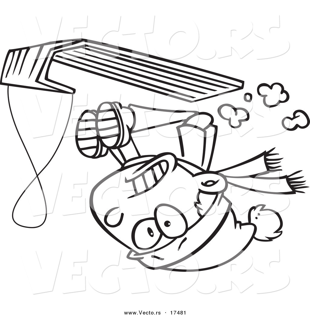 vector of a cartoon boy going upside down on his sled coloring page outline