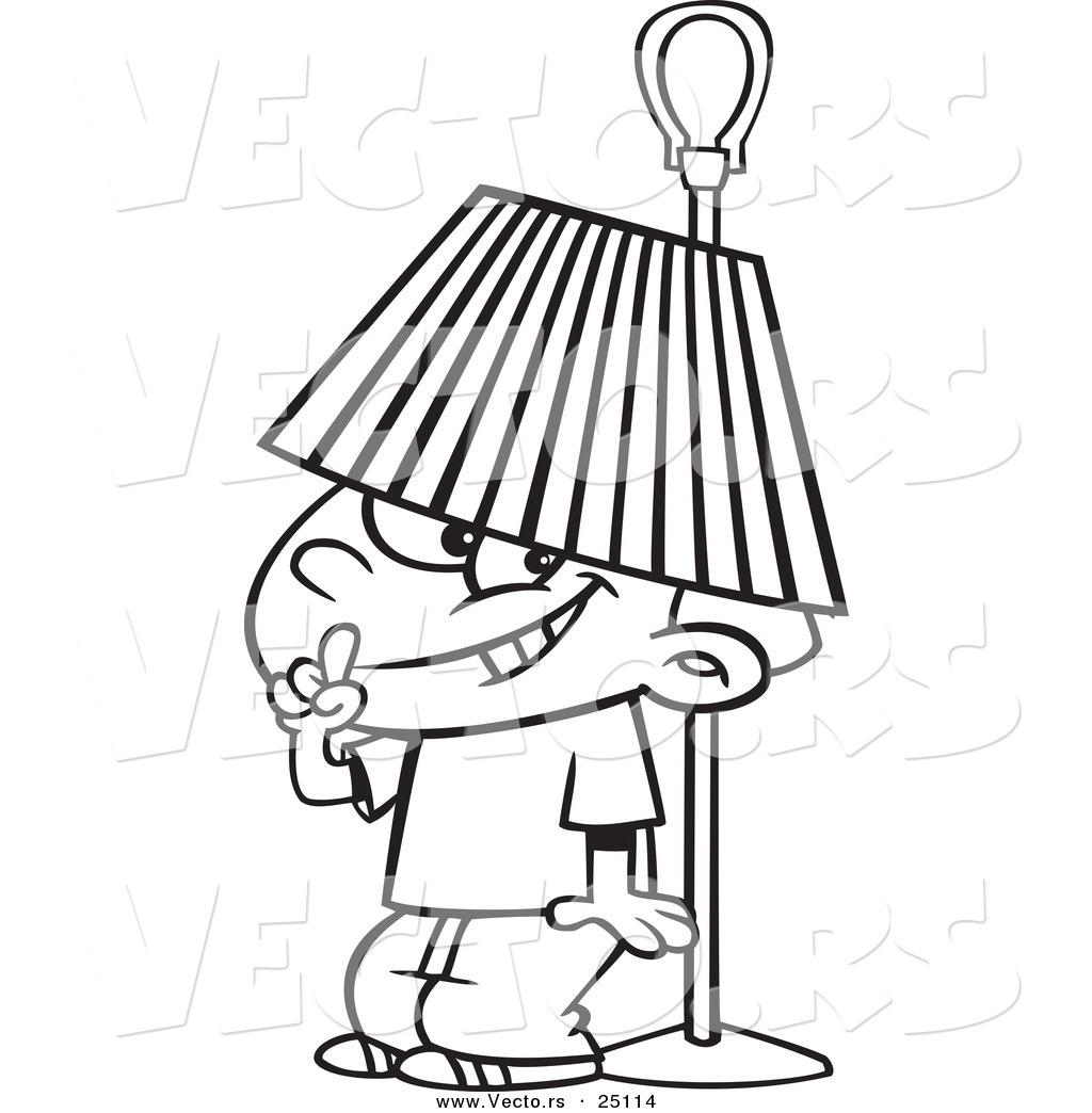 Vector Of A Cartoon Boy Hiding Under A Lamp Shade