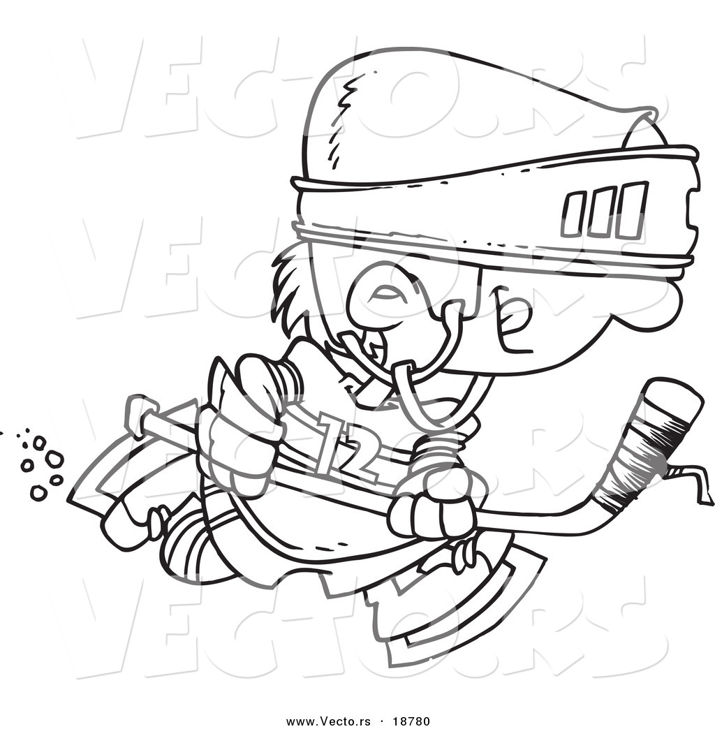 vector of a cartoon boy hockey player outlined coloring page by