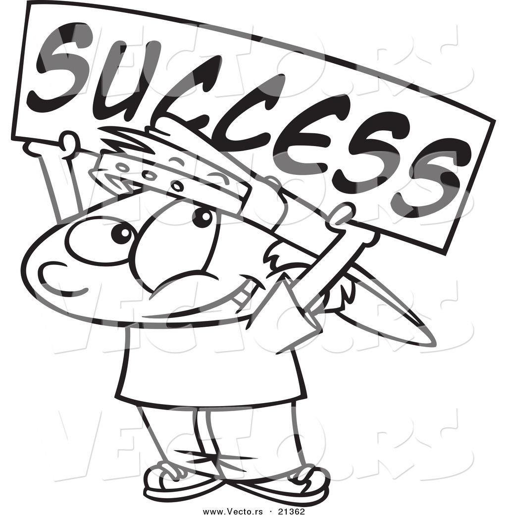 Vector Of A Cartoon Boy Holding A Success Banner Outlined Coloring
