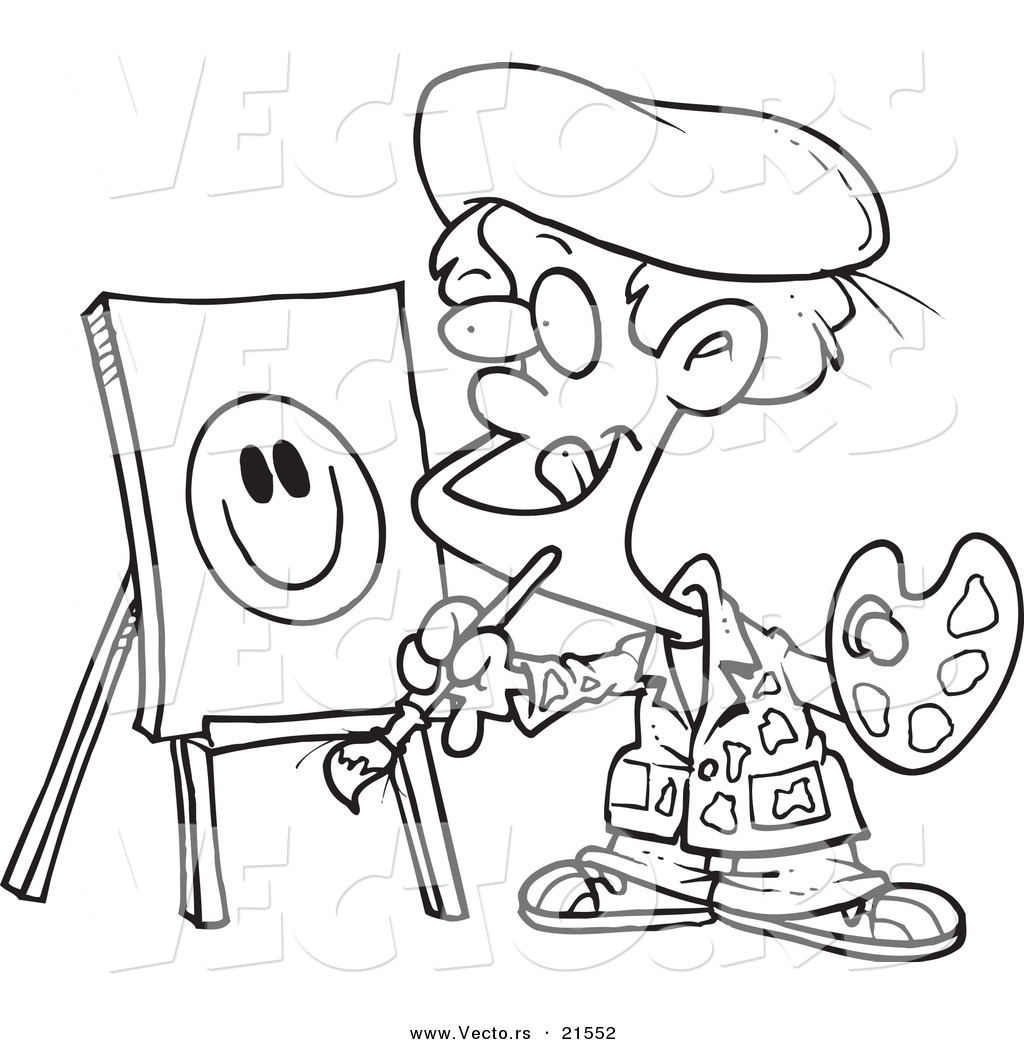 vector of a cartoon boy painting a smiley face outlined coloring
