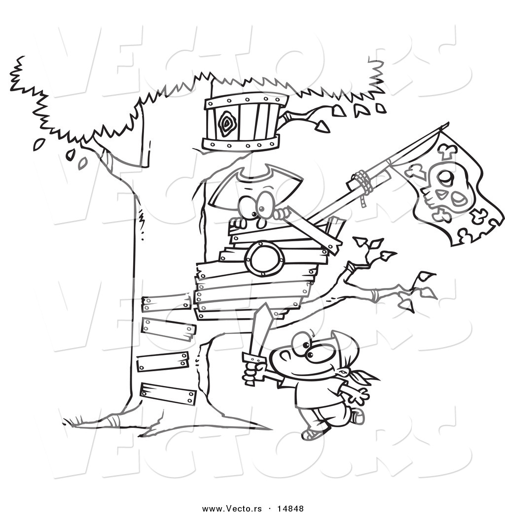 vector of a cartoon boy playing near his pirate tree house