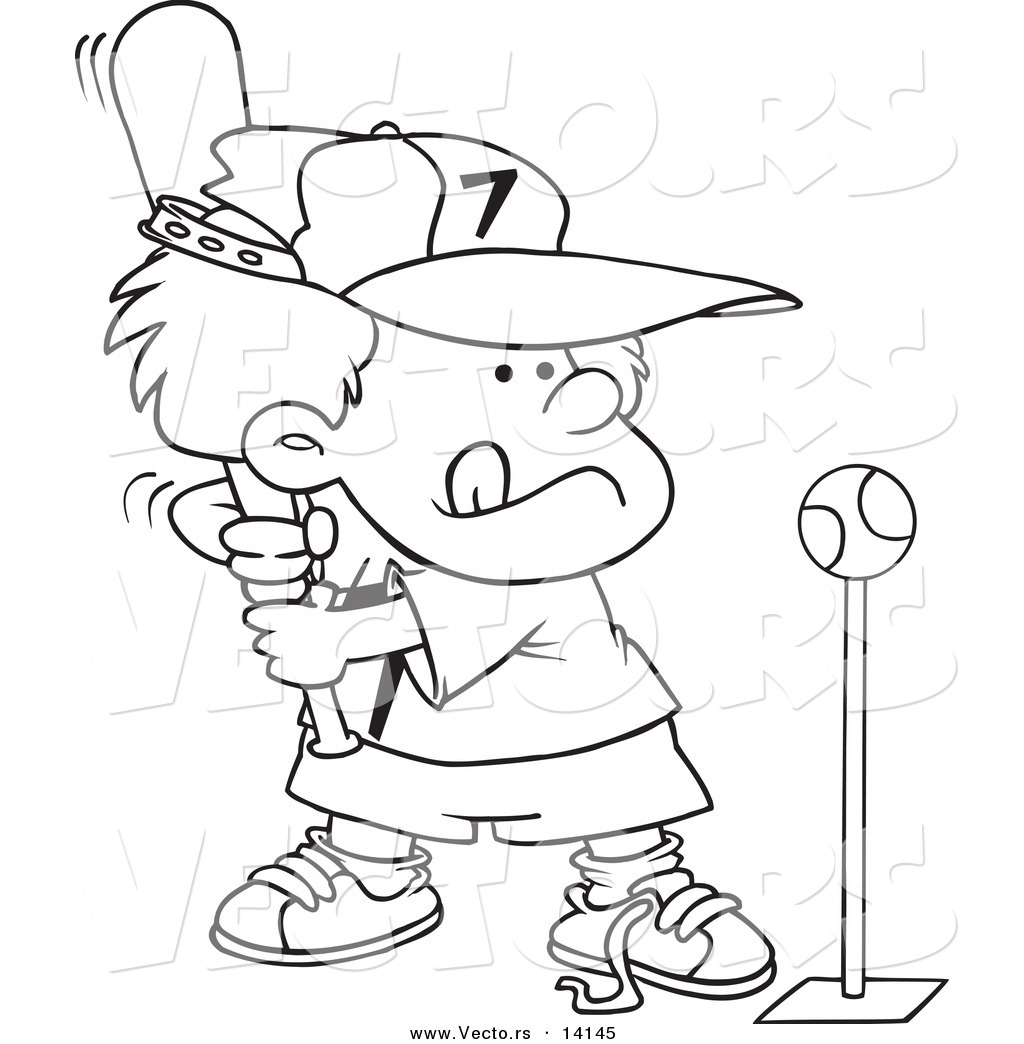 Vector of a Cartoon Boy Playing Tee Ball - Coloring Page Outline by ...