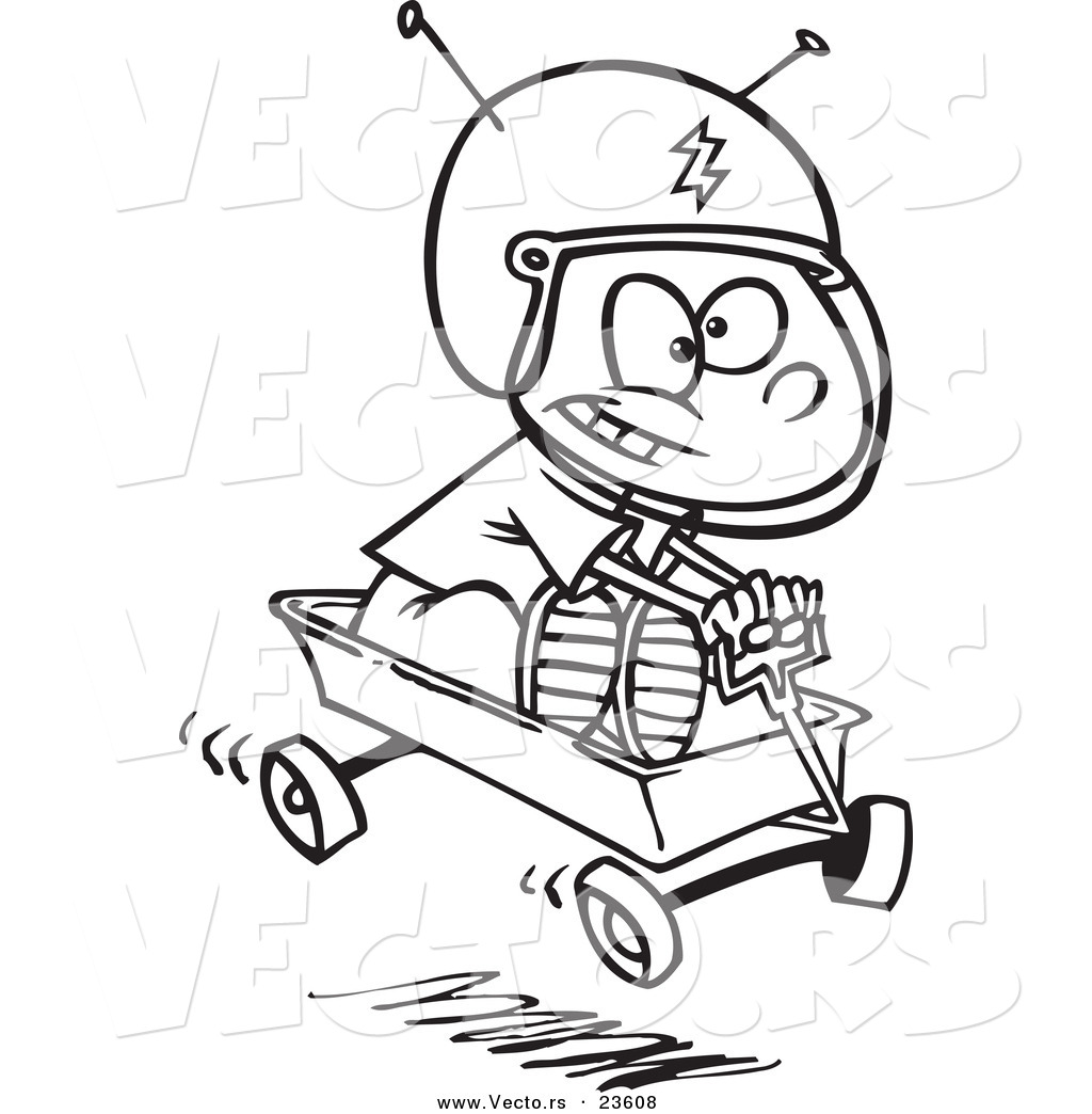 Uncategorized Wagon Coloring Pages vector of a cartoon boy pretending to ride space wagon coloring page outline