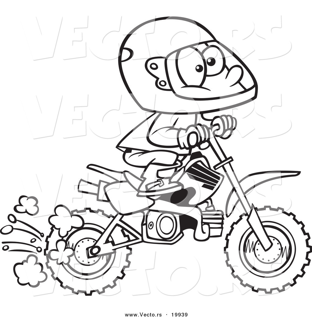 Vector Of A Cartoon Boy Riding Dirt Bike Outlined Coloring Page By