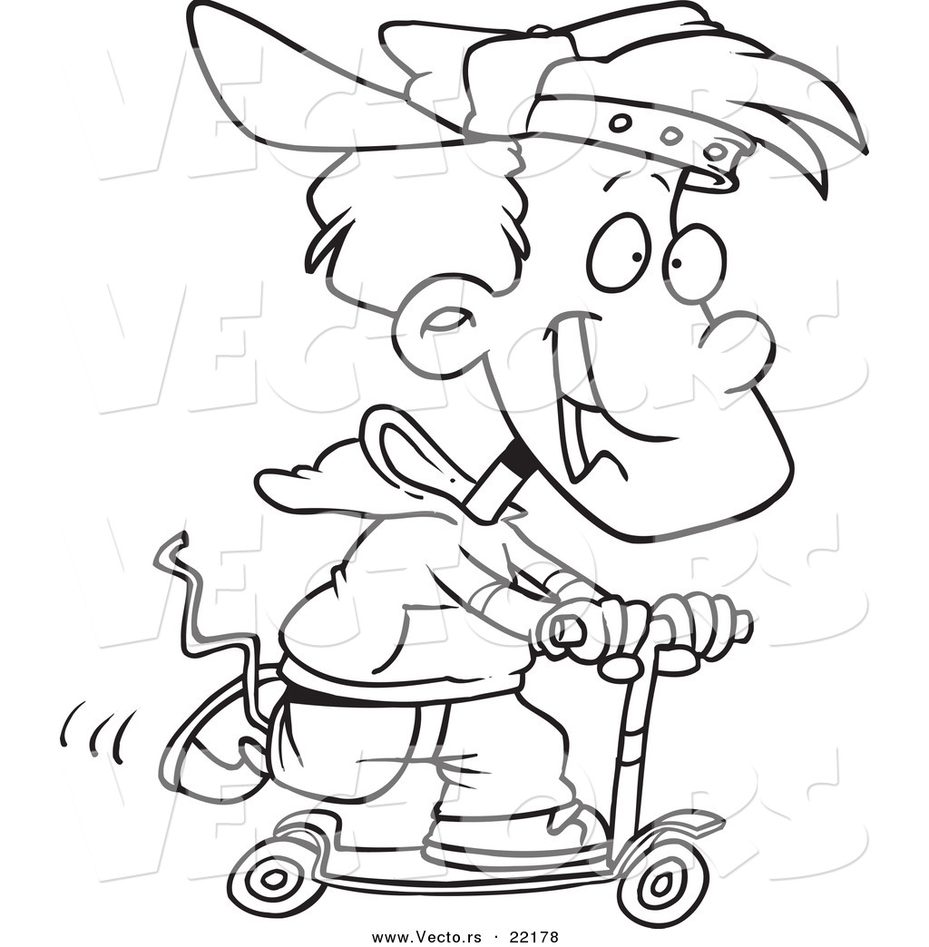 vector of a cartoon boy riding a scooter outlined coloring page
